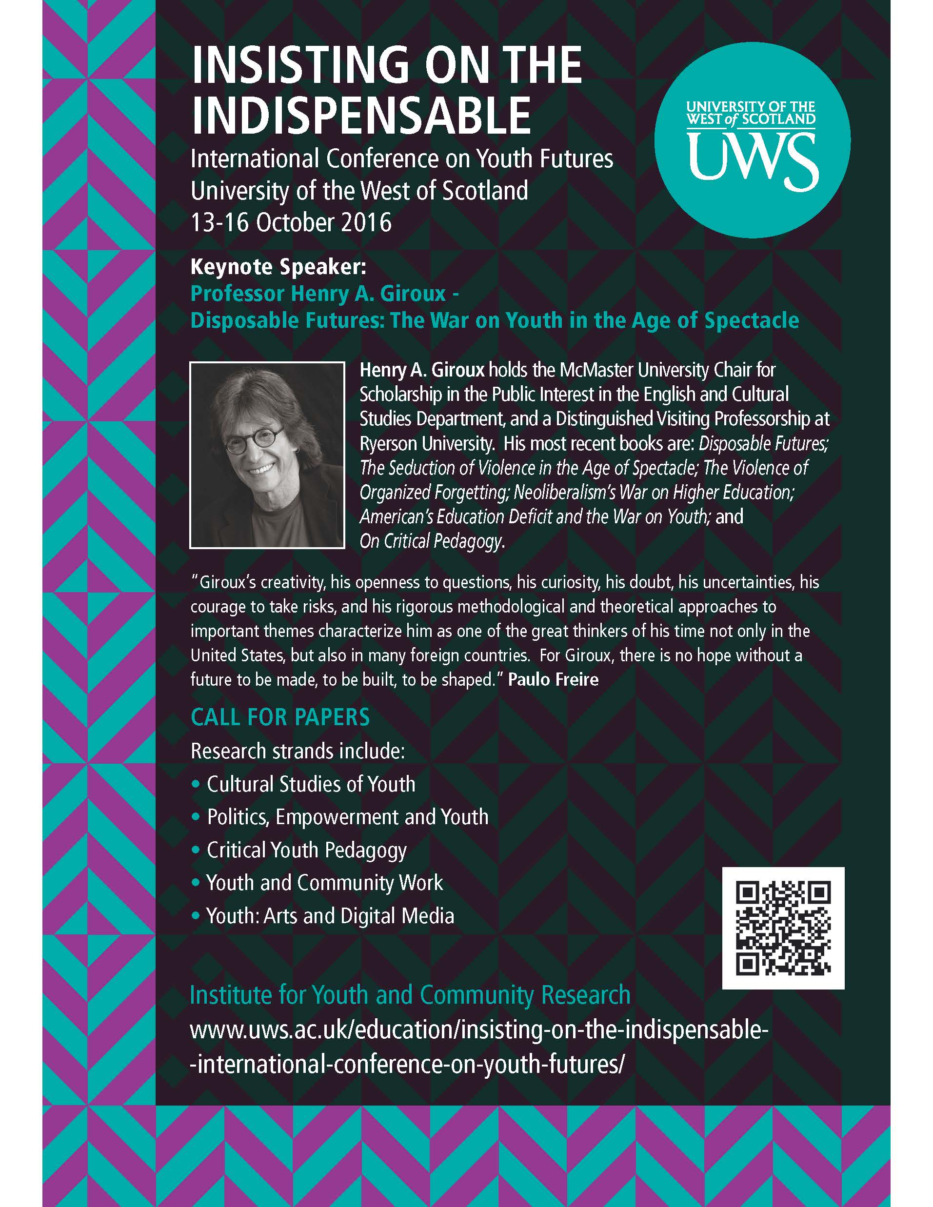 International Conference on Youth Futures - University of the West of Scotland [13-16 Oct 2016]